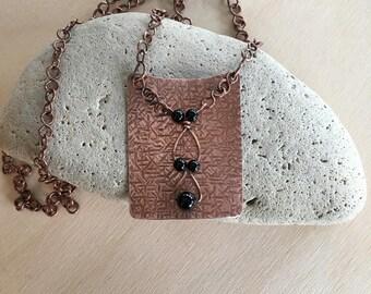 Women's necklace - Copper - Black Onyx - Link necklace - 22 inch - Statement necklace