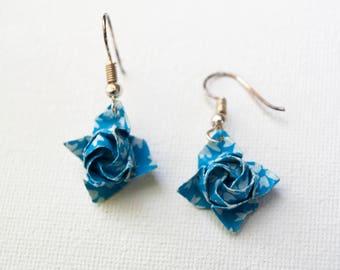Mini Blue Origami Rose Earrings