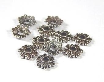 50 bead caps silver 6-7mm petal bead caps