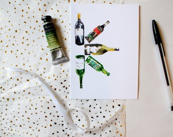 Watercolour Wine Bottles Blank Greeting Card