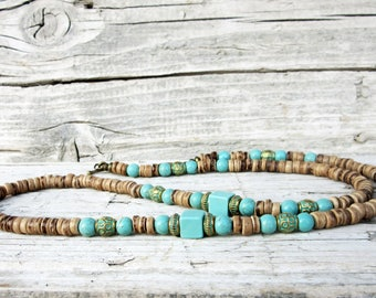 Mens Choker Necklace, Mens Coconut Necklace, Mens Turquoise Necklace, Mens Beaded Necklace, Surfer Necklace, Mens Jewelry