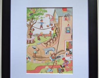 Vintage Mother Goose Illustration - Framed Children's Book Page - Nursery Decor - Old Woman Who Lived in a Shoe -  Children's Art
