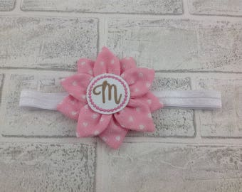 Personalized baby headband pink Flower - Girl