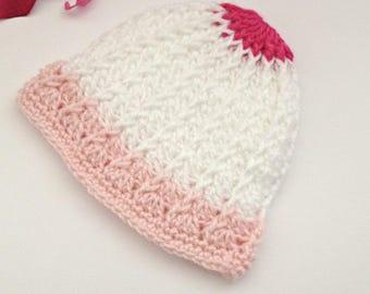 baby girls hat, baby hat, winter hat, beanie hat, newborn beanie hospital hat, girls beanie hat, crochet knitted winter beanie hat,