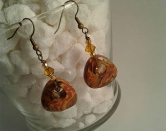 Brown orange multi colored marbled stone earrings