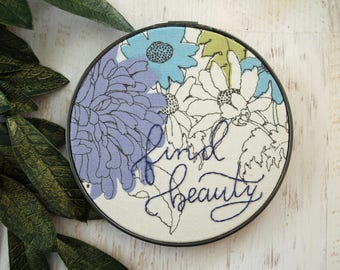 Find Beauty Embroidery Hoop Art - Vintage Floral Fabric Purple Flowers - Nursery Decor - Baby's Child's Room