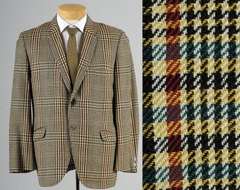 SALE Mens Vintage 60s Wool Tweed Windowpane Plaid Slim Rounded Lapel Jacket Mid Century Bold Woven 42 42S