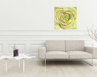 Yellow rose painitng oil and acrylic on canvas