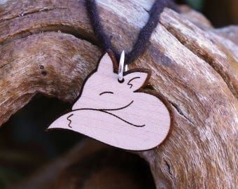 Sleeping Fox Pendant Necklace - Laser Cut Homeade Engraved Women's Jewelry Gifts