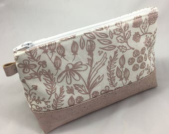 Cork Bottom Cosmetic Bag- Make Up Pouch- Accessory Bag- Rose Gold