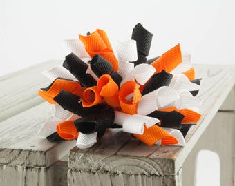Wednesday Korker Hair Bow, Orange, Black and White