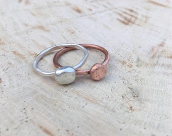 Silver pebble ring. Copper pebble ring. Solid sterling bead ring. Hammered ring. Stackable ring. Handmade solid nugget.  UK O & N