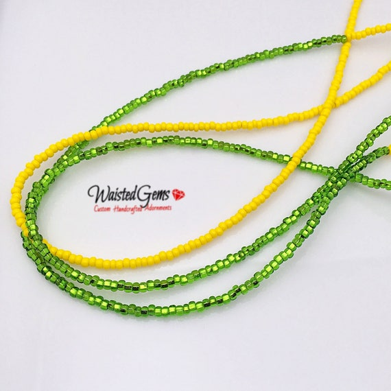 Lemon Lime 3 pc Waist Bead Set, African Waist Beads, Crop Top, Belly Chain, Waist Beads, Waist Trainer, Gifts for her