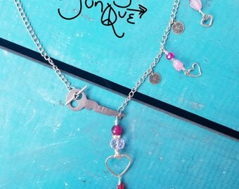 Pink Agate Key to My Heart Necklace