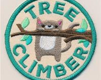Embroidered Patch / applique - adventure merit badges tree climber - sew, glue on or iron on patch