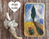 Needle felting landscape, rustic home decor, wool painting with tree, wall art, Waldorf inspired painting, Autumn housewarming gift for home