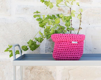 Crocheted Basket, Hand crocheted bowl, Fuchsia basket, storage solutions, square basket