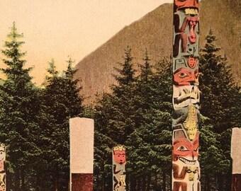 ON SALE Memorial Totem ALASKA Northwest Coast Indian Art 1930's Souvenir Postcard Carving Pole Old Vintage Antique