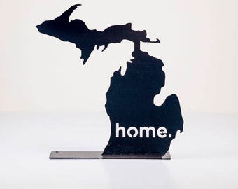 Michigan Home State Steel Sign - Metal State Wall Decor