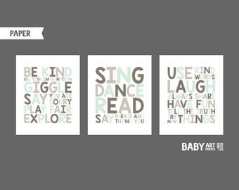 Playroon rules prints Tan Taupe Brown Mint Baby Boy Nursery art prints Set of 3 8x10 (NPHO810124)