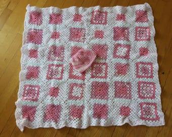 Beautiful handmade baby blanket and matching beanie. Perfect shower gift