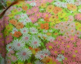 Pequot double flat sheet / retro floral double flat sheet / no iron muslin