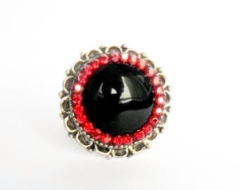 Large antique silver ring, Pierre Semi Précieuse black and rhinestones