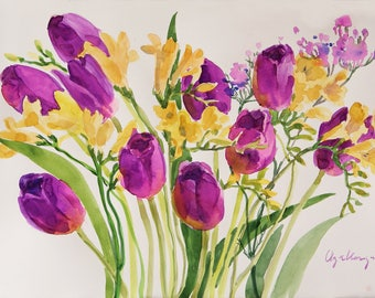 Tulips original watercolour 12x 18inc Tulip art painting home decor unique woman gift wall art tulips flowers floral painting