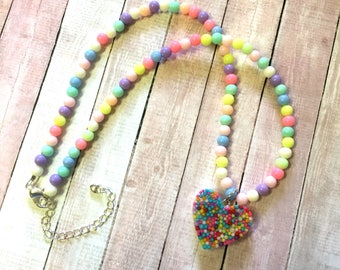 Fairy Kei Pastel Beaded Necklace With Sprinkle Heart