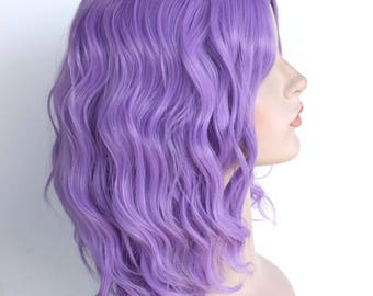 Ready to ship. Christmas wig Sale. Purple shoulder length wavy wig. New Year's Eve party wig. Christmas party hair.