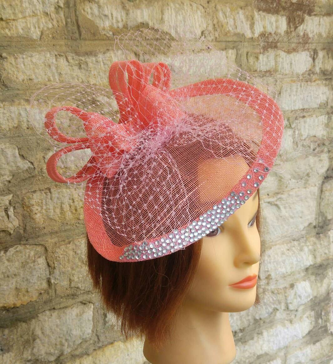 Pink Church Hat Wedding Hat Fascinator Coral Pink Fascinator