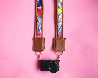 Summer Aztec Leather Camera Strap
