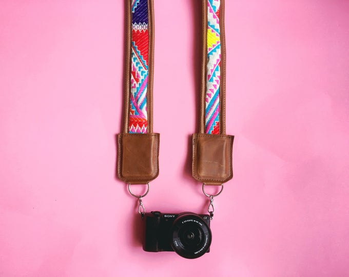 Featured listing image: Summer Aztec Leather Camera Strap