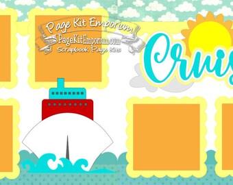 Scrapbook Page Kit Layout Summer Beach Sea Cruise Vacation Boy Girl 2 page Scrapbook Layout Kit 14