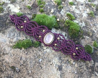 Macrame bracelet rose quartz with a bronze setting - color plum