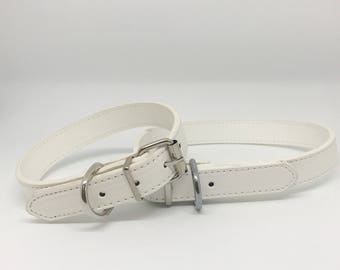 White Leather Dog Collar in PU Leather for Pet Wedding Accessory Boy Dog Collar