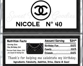 40th Birthday Chocolate Bar Wrappers - CHANEL Party Candy Bar Wrap - Custom CHANEL 40th Birthday Candy Wraps