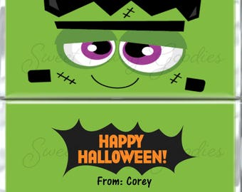 Halloween Frankenstein Candy Bar Wrapper - Frankenstein Candy Bar Wrapper - Halloween Candy Bar Wrappers - Party Favors - PDF or Printed