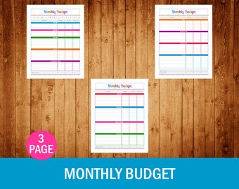 Monthly Budget Set - Instant Download PDF Printable