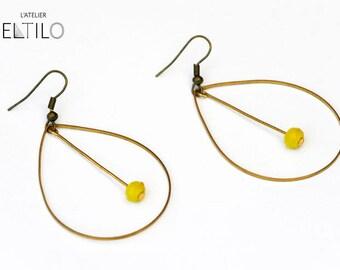 Earring drop yellow / / Bohemian yellow earrings / / hand made original design