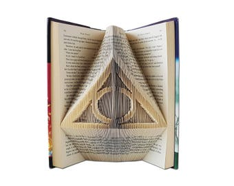 Harry Potter Deathly Hallows Sign folded into the pages of a book - Harry Potter Anniversary gifts - Harry Potter Wedding Gift - Favors