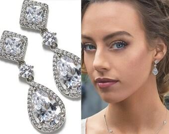 White Gold Earrings Wedding Jewelry Drop Earrings Bridal Accessories Teardrop Earrings Bridal Jewelry Crystal Earrings Silver Earring E148-S