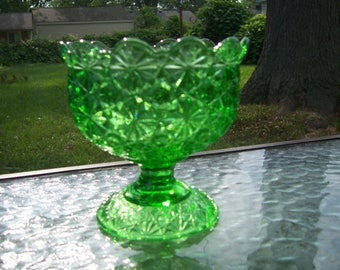 Daisy and Button Green by L.E Smith Glass Compote-Candy Dish