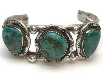 Chunky Vintage Silver Turquoise Cuff Bracelet