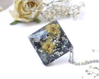 Forget Me Not Jewelry - Pressed Flower Necklaces - Real Flower Necklace - Floral Resin Jewelry - Pressed Flower Jewelry - Resin Jewelry