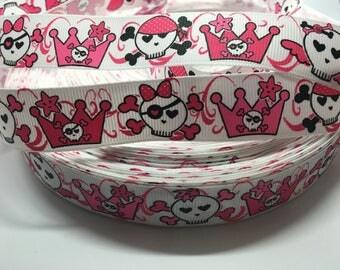 3 yards Halloween Skull Crown Princess grosgrain ribbon