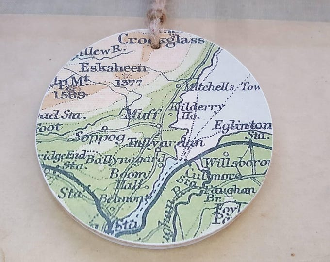 Muff (Ireland) - Rude Place-name Vintage Map Decoration