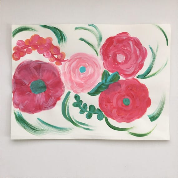 Flower Painting - Original Flower Painting in pink, green and blue - Flower Whimsy