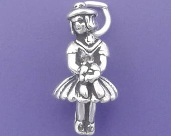 FLOWER GIRL Charm .925 Sterling Silver Wedding Small Pendant - lp4016