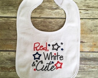 4th of July Baby Bib, Military Baby Bib, Patriotic Baby Bib
